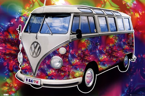 Framed VW Californian Camper - Love Print