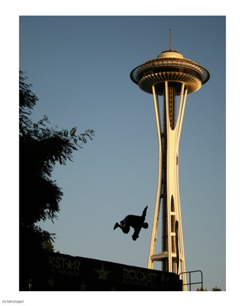 Framed Skateboarder Aloft and Space Needle Print