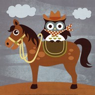 Cowboy Owl on Horse Art