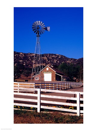 Framed USA, California, windmill on farm Print