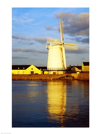 Framed Reflection of a traditional windmill in a river, Blennerville Windmill, Tralee, County Kerry, Ireland Print