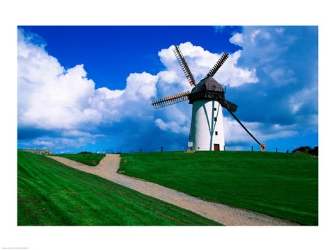 Framed Traditional windmill in a field, Skerries Mills Museum, Skerries, County Dublin, Ireland Print