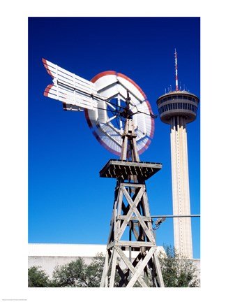 Framed USA, Texas, San Antonio, Tower of the Americas and old windmill Print