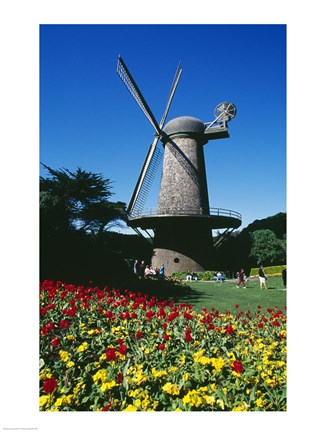 Framed USA, California, San Francisco, Golden Gate Park, windmill Print