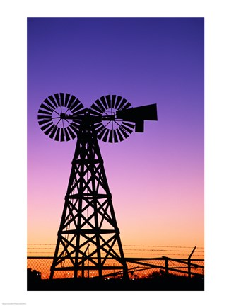 Framed Silhouette of a windmill, American Wind Power Center, Lubbock, Texas, USA Print