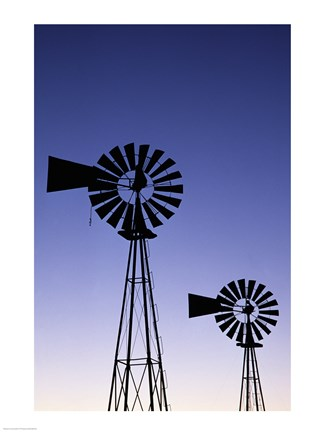 Framed Silhouette of windmills, American Wind Power Center, Lubbock, Texas, USA Print