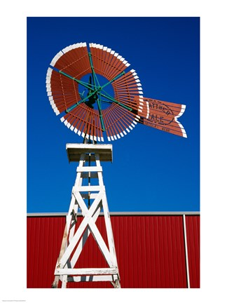 Framed Red Windmill in Texas Print