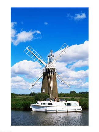 Framed Low angle view of a traditional windmill, Thurne, Norfolk Broads, Norfolk, England Print