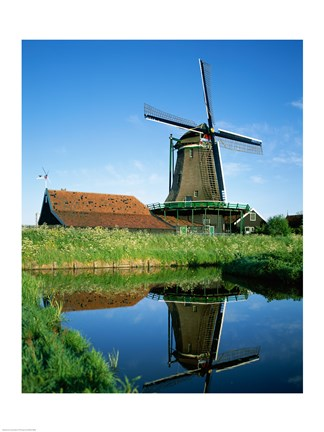 Framed Windmill, Zaanse Schans, Netherlands Reflection Print