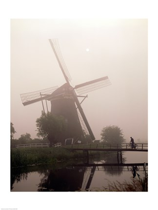 Framed Windmill and Cyclist, Zaanse Schans, Netherlands black and white Print