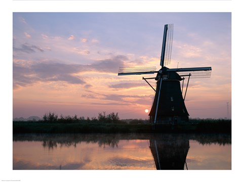 Framed Silhouette, Windmills at Sunset, Kinderdijk, Netherlands Blue Light Print