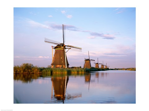Framed Windmills, Kinderdijk, Netherlands Print