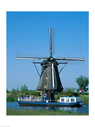Framed Windmill and Canal Tour Boat, Kinderdijk, Netherlands Print