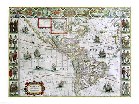 Framed Map of North and South America, Joan Bleau, 1630 Print