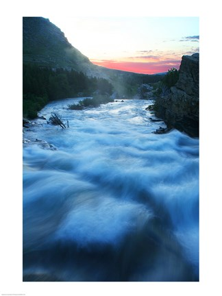 Framed River flowing around rocks at sunrise, Sunrift Gorge, US Glacier National Park, Montana, USA Print