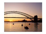 Sunrise over a bridge, Sydney Harbor Bridge, Sydney, Australia Art