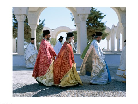 Framed Greek Orthodox, Priests, Santorini, Thira (Fira), Cyclades Islands, Greece Print