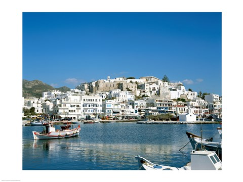 Framed City Skyline and Harbor, Naxos, Cyclades Islands, Greece Print