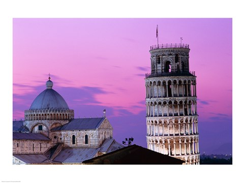 Tower At Night Leaning Tower Pisa Italy Fine Art Print