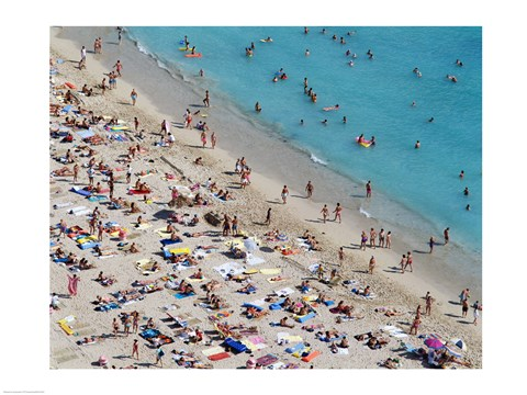 Framed Aerial view of people at the beach, Waikiki Beach, Honolulu, Oahu, Hawaii, USA Print