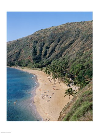 Framed High angle view of a bay, Hanauma Bay, Oahu, Hawaii, USA Print