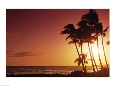 Framed Kauai Hawaii USA Beach at Sunset Print