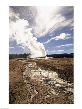Framed Old Faithful Geyser Yellowstone National Park Wyoming USA Print