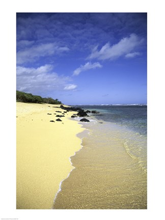 Framed Kauai Hawaii - Sandy Beach Print