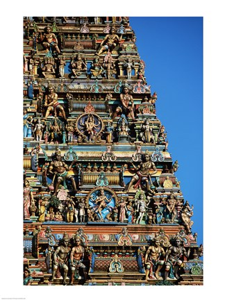 Framed Carvings on a temple, Sri Meenakshi Hindu Temple, Chennai, Tamil Nadu, India Print