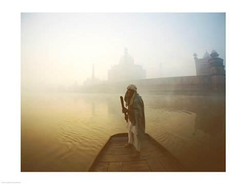 Framed Silhouette of a man standing on a boat in the Yamuna River, Taj Mahal, Agra, Uttar Pradesh, India Print