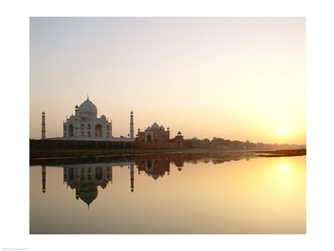 Framed Silhouette of the Taj Mahal at sunset, Agra, Uttar Pradesh, India Print