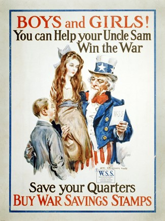 Framed Help Uncle Sam Win the War Print