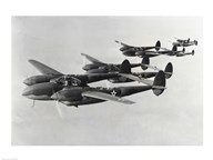 Four fighter planes in flight, P-38 Lightning Art