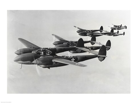 Framed Four fighter planes in flight, P-38 Lightning Print