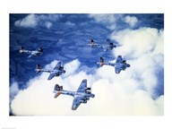 High angle view of fighter planes in flight, B-17 Flying Fortress, Eighth Air Force, World War II, England