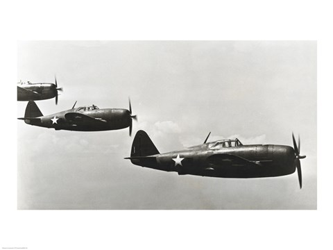 Framed Three fighter planes, P-47 Thunderbolt Print