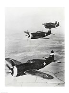Three fighter planes in flight, P-47 Thunderbolt Art