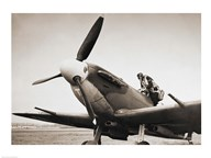 Submarine Spitfire WW-II British Fighter Art