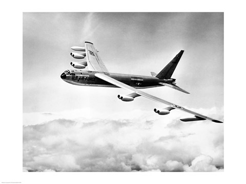 Framed High angle view of a military airplane in flight, B-52C Stratofortress Print