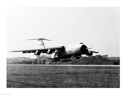 Framed Military airplane taking off, C-5 Galaxy Print