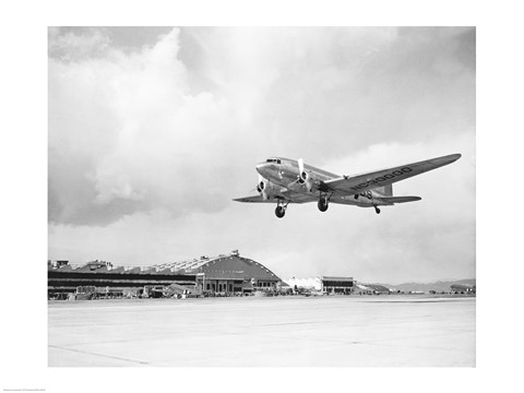Framed Low angle view of a military airplane landing, Douglas DC-3 Print