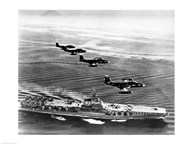 High angle view of four fighter planes flying over an aircraft carrier, US Navy Banshees, USS Coral Sea (CV-43) Art