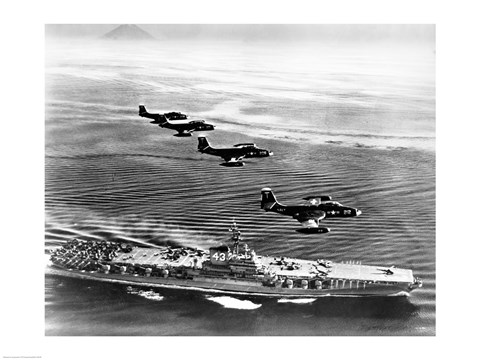 Framed High angle view of four fighter planes flying over an aircraft carrier, US Navy Banshees, USS Coral Sea (CV-43) Print