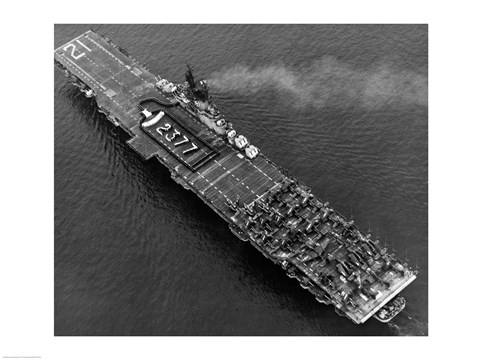 Framed High angle view of an aircraft carrier in the sea, USS Boxer (CV-21), 1951 Print