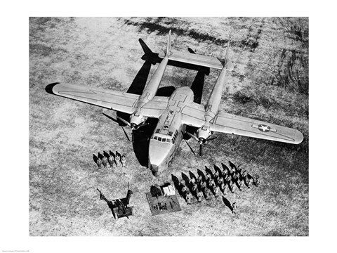 Framed High angle view of soldiers standing near a military airplane, Fairchild C-119 Flying Boxcar Print