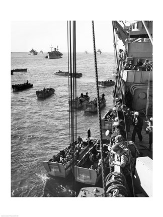 Framed High angle view of army soldiers in a military ship, Normandy, France, D-Day, June 6, 1944 Print