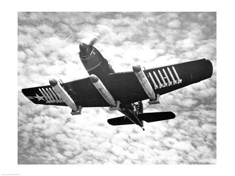 Framed Low angle view of a fighter plane carrying missiles in flight, Martin AM-1 Mauler, US Navy Print