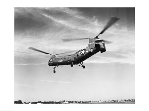Framed Low angle view of a military helicopter in flight, H-21D Helicopter, US Military Print