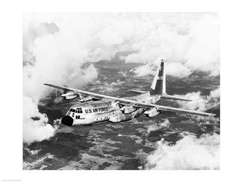 Framed High angle view of a military airplane in flight, C-130 Hercules Print