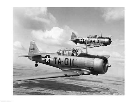Framed Side profile of two fighter planes in flight, AT-6 Texan Print